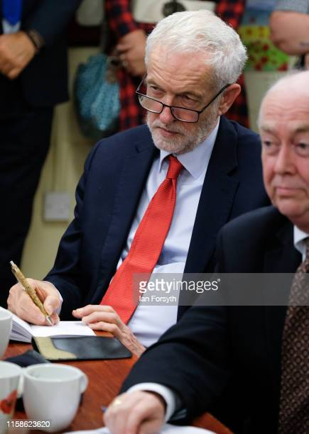 Labour Party Leader Jeremy Corbyn meets military personnel at the Heugh Battery Museum on Hartlepool Headland as he announces a package of measures...