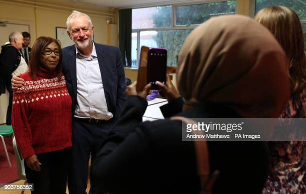 Labour party leader Jeremy Corbyn poses for a photograph after listening to NHS staff at Park South Community Centre in Swindon during a talk about...