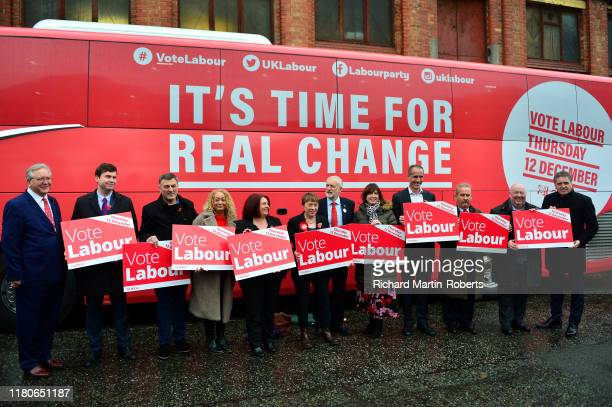 Labour Party Leader Jeremy Corbyn poses with candidates and party members as Labour launch their General Election Campaign Bus and slogan at the...