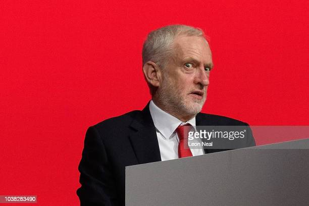 Labour Party leader Jeremy Corbyn reacts as a delegate passionately argues against rushing through a proposed change to the selection of local MPs at...