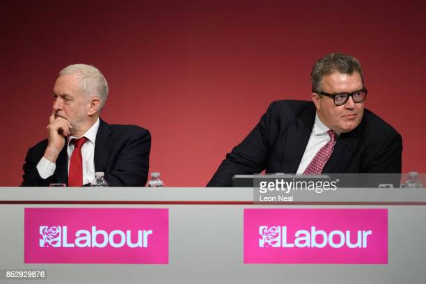 Labour Party leader Jeremy Corbyn sits with Deputy Leader Tom Watson in the main hall on the first day of the Labour Party conference on September 24...