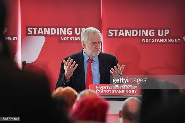Labour Party Leader Jeremy Corbyn speaks as he attends antisemitism inquiry findings at Savoy Place on June 30 2016 in London EnglandThe Labour...