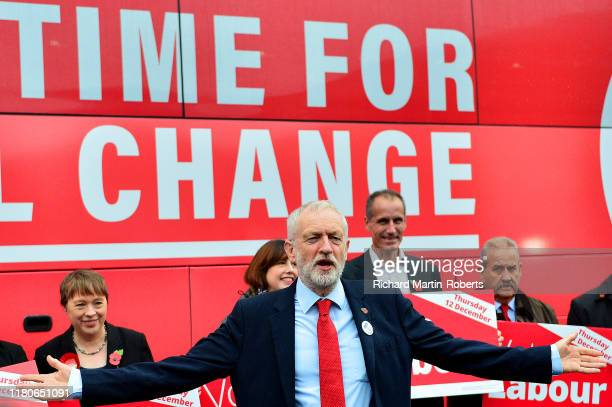 Labour Party Leader Jeremy Corbyn speaks as Labour launch their General Election Campaign Bus and slogan at the Invisible Wind Factory on November 7...