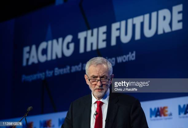 Labour Party leader Jeremy Corbyn speaks at the EEF Manufacturing Conference at the QEII centre on February 19 2019 in London England Corbyn said he...