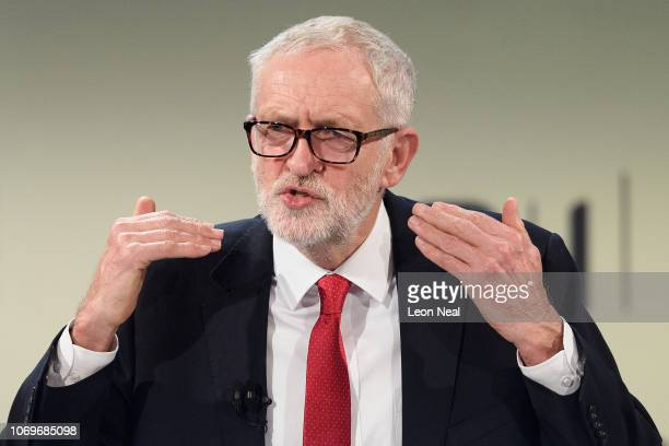 Labour Party Leader Jeremy Corbyn speaks during the 2018 CBI Conference on November 19 2018 in London England Corbyn addressed the group of business...