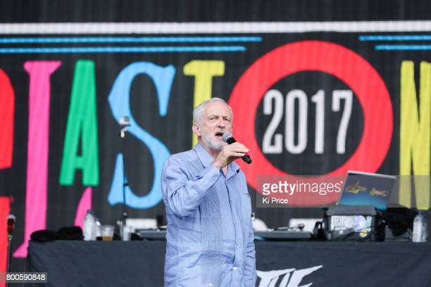 Labour Party Leader Jeremy Corbyn speaks on the Pyramid stage on day 3 of the Glastonbury Festival 2017 at Worthy Farm Pilton on June 24 2017 in...