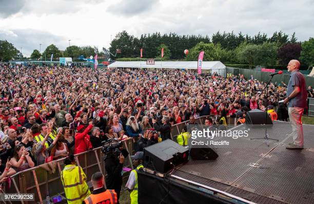 Labour party leader Jeremy Corbyn speaks to crowd on the main stage at Labour Live White Hart Lane Tottenham on June 16 2018 in London England The...