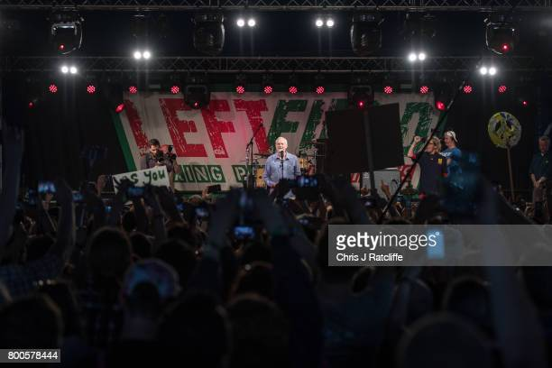 Labour Party leader Jeremy Corbyn speaks to crowds at Left Field Stage at Glastonbury Festival Site on June 24 2017 in Glastonbury England Labour...