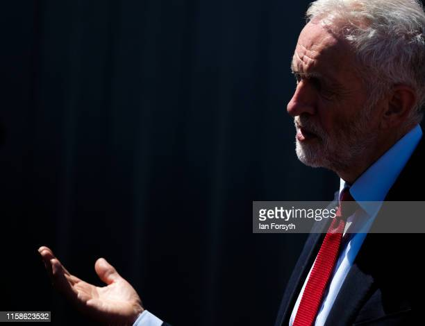 Labour Party Leader Jeremy Corbyn speaks to media as he visits to meet military personnel at the Heugh Battery Museum on Hartlepool Headland on the...