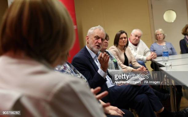Labour party leader Jeremy Corbyn speaks to NHS staff at Park South Community Centre in Swindon during a talk about the NHS winter crisis