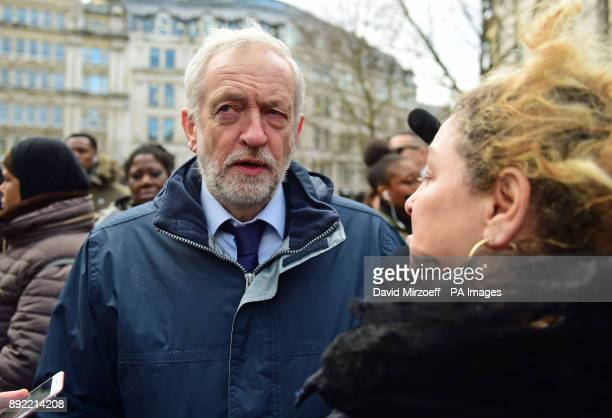 Labour Party leader Jeremy Corbyn speaks with a woman after the Grenfell Tower National Memorial Service at St Paul's Cathedral in London to mark the...