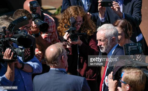 Labour Party Leader Jeremy Corbyn speaks with media during a visit where he met former military personnel at the Heugh Battery Museum on Hartlepool...