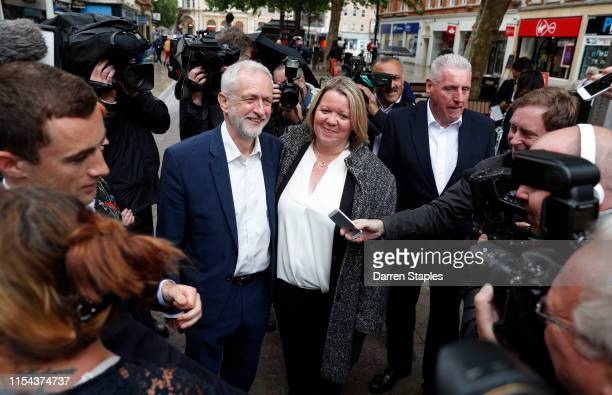 Labour Party leader Jeremy Corbyn speaks with new MP Lisa Forbes after her victory in the Peterborough Byelection on June 07 2019 in Peterborough...