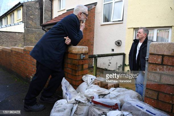 Labour Party leader Jeremy Corbyn speaks with Richard Oliver whose home was flooded on February 20 2020 in Pontypridd Wales Residents and business...