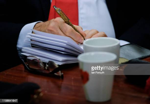 Labour Party Leader Jeremy Corbyn takes notes as he meets former military personnel at the Heugh Battery Museum on Hartlepool Headland as he...