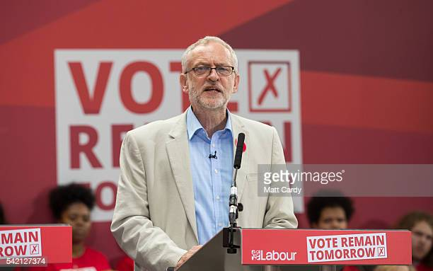 Labour Party leader Jeremy Corbyn talks at a Labour In rally ahead of tomorrow's EU referendum on June 22 2016 in London England The Labour Party...