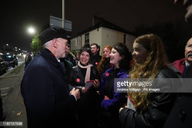 Labour Party leader Jeremy Corbyn talks with Labour activists as they canvas in Govan, Glasgow, during General Election campaigning.