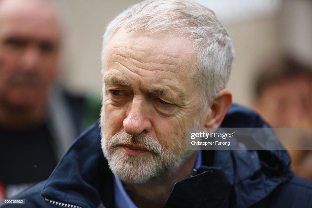 Jeremy Corbyn Visits Flood Sites In Cumbria : News Photo