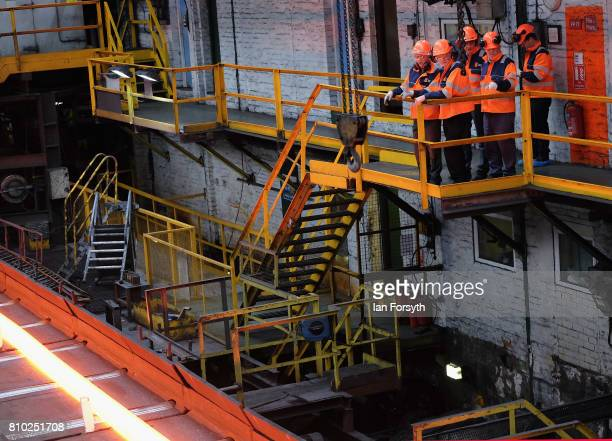 Labour Party leader Jeremy Corbyn visits the British Steel manufacturing site to tour the facility and meet staff on July 7 2017 in Skinningrove...