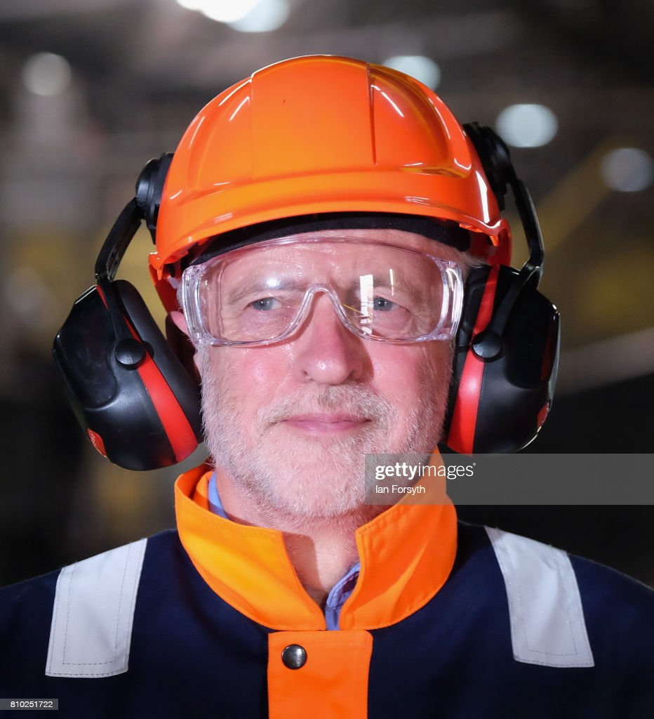 Jeremy Corbyn Visits British Steel Plant In Skinningrove : News Photo