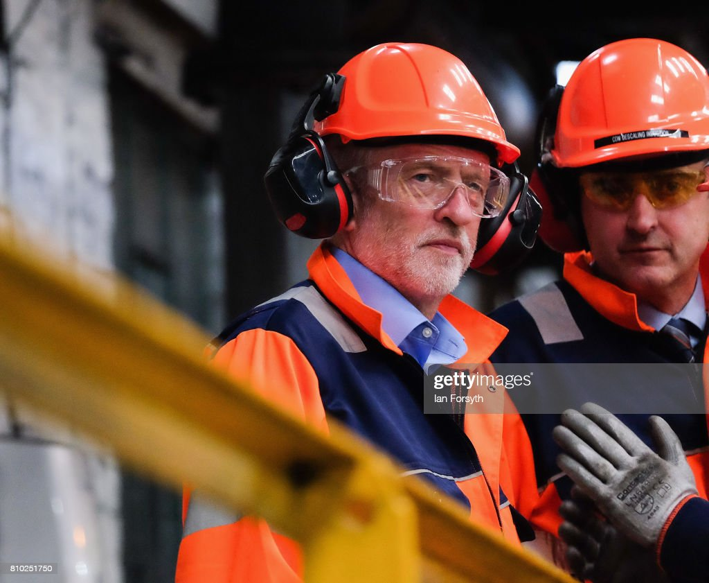 Labour Party leader Jeremy Corbyn visits the British Steel manufacturing site to tour the facility and meet staff on July 7, 2017 in Skinningrove, United Kingdom. The visit was part of a wider tour of the Middlesbrough South and East Cleveland constituency and comes as a recent YouGov survey, the first since the General Election last month, puts the Labour party ahead with 46 percent of the public backing Labour. The Middlesbrough South and East Cleveland constituency was won by Conservative Simon Clarke in the General Election after he beat Labour's Tracy Harvey.