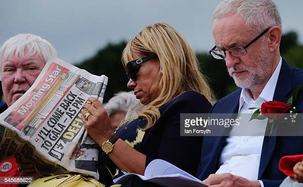 Labour Party leader Jeremy Corbyn waits to give his speech during the 132nd Durham Miners Gala on July 9 2016 in Durham England More than two decades...
