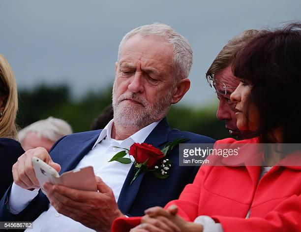 Labour Party leader Jeremy Corbyn waits to speak during the 132nd Durham Miners Gala on July 9 2016 in Durham England More than two decades after the...