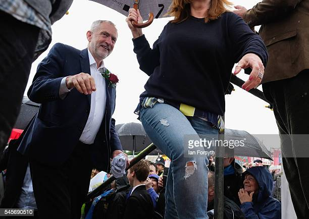 Labour Party leader Jeremy Corbyn walks onto the stage ahead of his speech during the 132nd Durham Miners Gala on July 9 2016 in Durham England More...