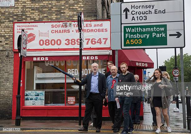 Labour Party leader Jeremy Corbyn walks with Labour Party activists as he leaves his home to cast his vote at a polling station at Pakeman Primary...