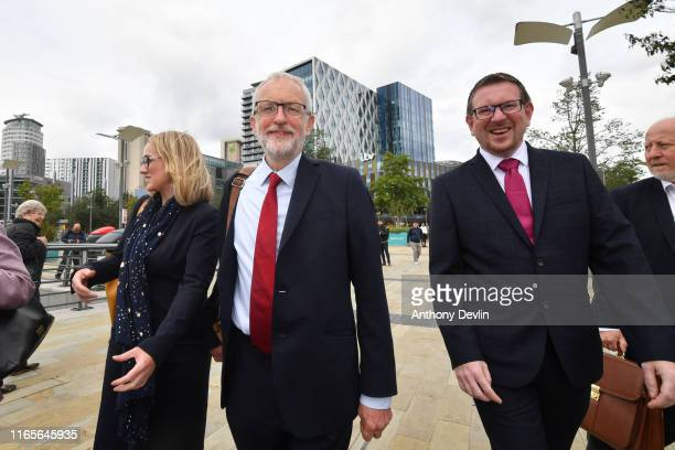 Labour Party leader Jeremy Corbyn walks with members of his shadow cabinet Shadow Business Secretary Rebecca Long Bailey Shadow Communities Secretary...