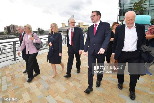 Labour Party leader Jeremy Corbyn walks with members of his shadow cabinet Shadow Chancellor John McDonnell Shadow Minister for Mental Health and...