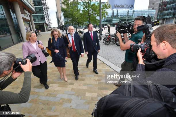 Labour Party leader Jeremy Corbyn walks with members of his shadow cabinet Shadow Minister for Mental Health and Social Care Barbara Keeley Shadow...