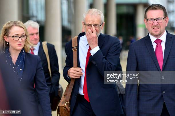 Labour Party leader Jeremy Corbyn walks with members of his shadow cabinet including Shadow Minister for Mental Health and Social Care Barbara Keeley...