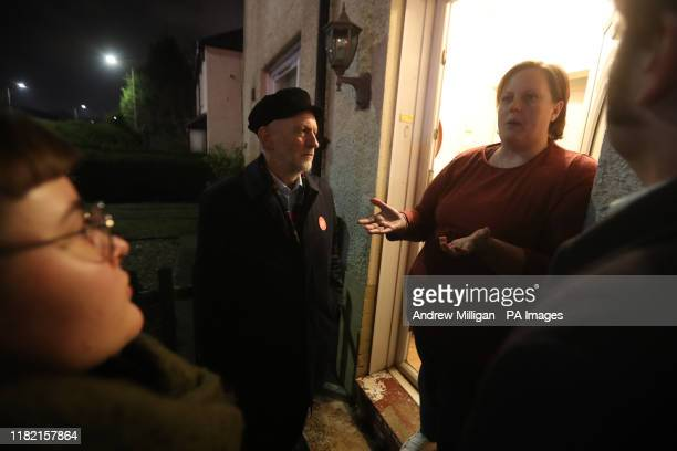 Labour Party leader Jeremy Corbyn with Labour activists whilst canvassing in Govan, Glasgow, during General Election campaigning.