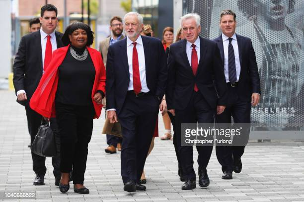 Labour Party leader Jeremy Corbyn with Shadow Home Secretary Diane Abbott and Shadow Home Secretary John McDonnell arrives to address delegates on...