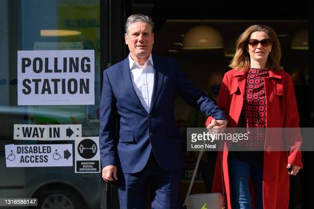 Labour Party leader Keir Starmer and his wife Victoria leave the polling station after casting their votes on May 06, 2021 in London, England. The...