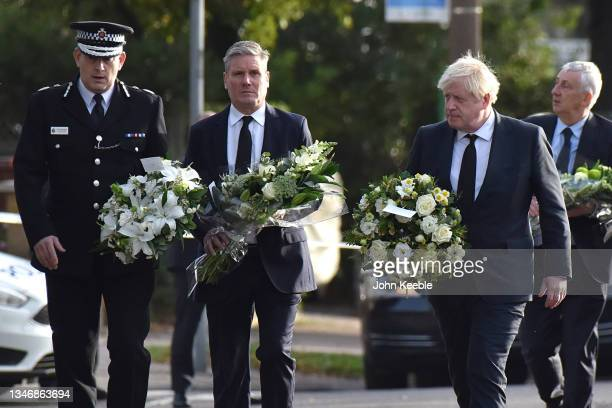 Labour Party Leader, Keir Starmer and Prime Minister Boris Johnson arrive to lay flowers outside the Belfairs Methodist Church following the stabbing...
