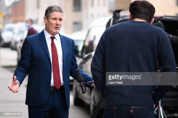 Labour Party leader Keir Starmer records a statement to camera after visiting a COVID-19 vaccination centre at the Sir Ludwig Guttmann Building on...