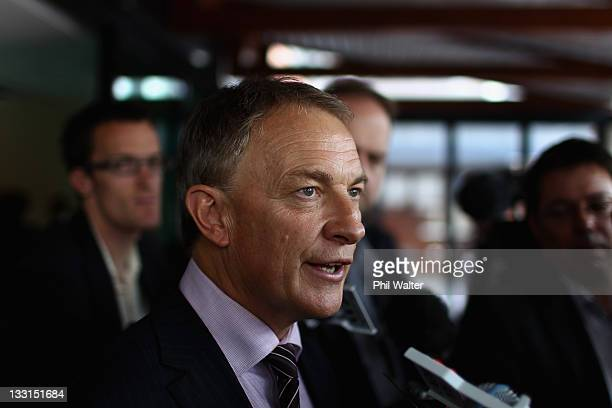 Labour Party Leader Phil Goff addresses the media following the Labour economic policy launch at Sky City Grand on November 18, 2011 in Auckland, New...