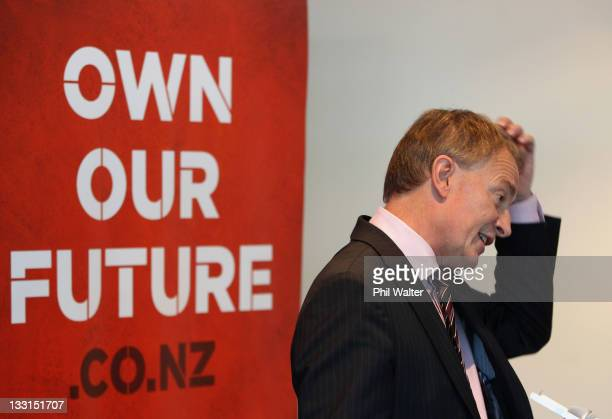 Labour Party Leader Phil Goff speaks during the economic policy launch at Sky City Grand on November 18, 2011 in Auckland, New Zealand. New...