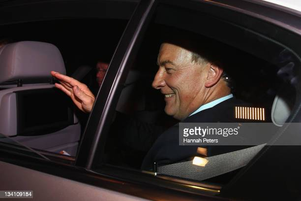 Labour Party leader Phil Goff waves goodbye at the Labour Party headquarters during the 2011 General Election on November 26, 2011 in Auckland, New...
