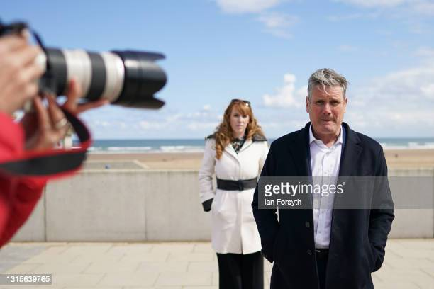Labour Party leader Sir Keir Starmer and Angela Rayner, Deputy Leader and Chair of the Labour Party visit Seaton Carew seafront on May 01, 2021 in...
