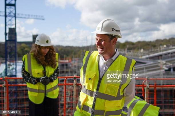 Labour Party leader Sir Keir Starmer and Angela Rayner, Deputy Leader and Chair of the Labour Party visit a building development project on the banks...