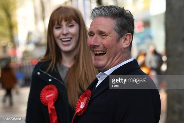 Labour Party leader Sir Keir Starmer and deputy party leader Angela Rayner laugh as they campaign on May 5, 2021 in Birmingham, England. Political...