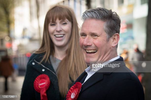 Labour Party leader Sir Keir Starmer and deputy party leader Angela Rayner on the campaign trail on May 5, 2021 in Birmingham, England. Political...