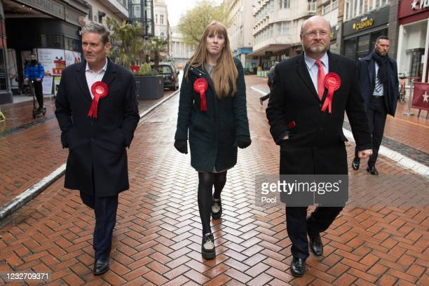 Labour Party leader Sir Keir Starmer and deputy party leader Angela Rayner on campaign trail with West Midlands Metro Mayor candidate Liam Byrne on...