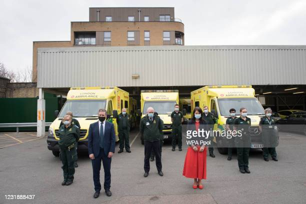 Labour party leader Sir Keir Starmer and Shadow Chancellor of the Duchy of Lancaster, Rachel Reeves join paramedics at Deptford Ambulance station,...