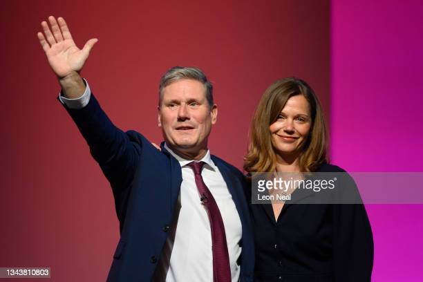 Labour party leader, Sir Keir Starmer and wife Victoria accept the applause of delegates after delivering his keynote speech on September 29, 2021 in...