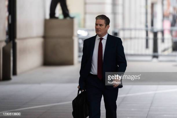 Labour Party Leader Sir Keir Starmer arrives at the BBC Broadcasting House in central London to appear on The Andrew Marr Show, on 10 January 2021 in...