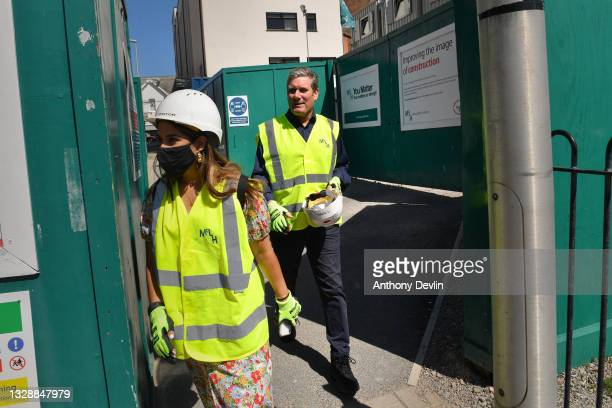 Labour Party leader Sir Keir Starmer arrives to meet construction workers renovating the Winter Gardens on July 15, 2021 in Blackpool, England.